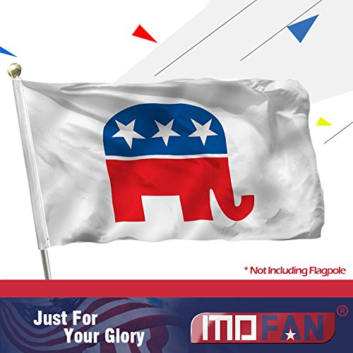 (MOFAN US Republican Party Flag Polyester - Nicely Stitched and Vivid Color - Elephant Flags Polyester Banner with 2 Solid Brass Grommets 3x5 Ft Indoor/Outdoor)