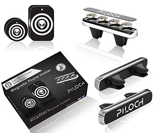 Magnetic Phone Car Mount, Air Vent Holder, Vent Phone Mount, Comes with a Pack of 4 Metal Plates for Your Phone or Devices for Safe Driving by PILOCH