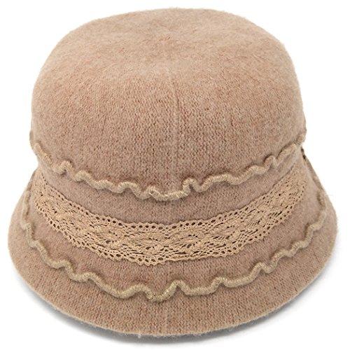 Cute 1920s Warm Wool Cloche Bucket Hat, Packable Winter Vintage Bowler Cap (Tan)