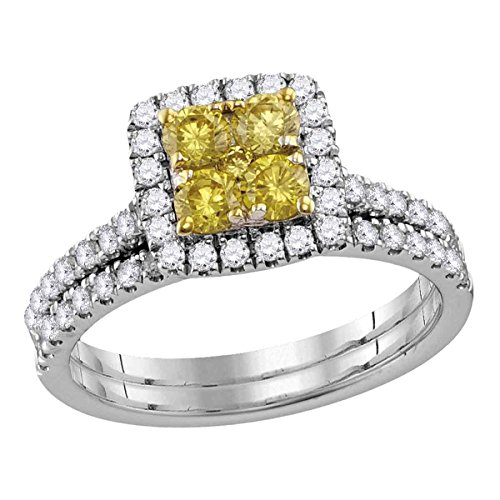 14kt White Gold Womens Canary Yellow Diamond Square Cluster Bridal Wedding Ring Set 1-1/4 Cttw (I1-I2 clarity; Yellow color) Canary Diamond Wedding Rings