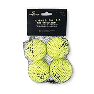 Hyper Pet Tennis Balls for Dogs, Pet Safe Dog Toys for Exercise and Training, Pack of 4, Green