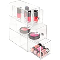 InterDesign Drawers Bathroom Storage Drawers, Plastic Makeup Holder Organiser with 3 Drawers, Clear