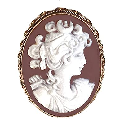 Discount Goddess Diana Cameo Brooch, Pendant, Enhancer, Master Carved, Sardonyx Shell, Sterling Silver 18k Gold Overlay, Italian supplier