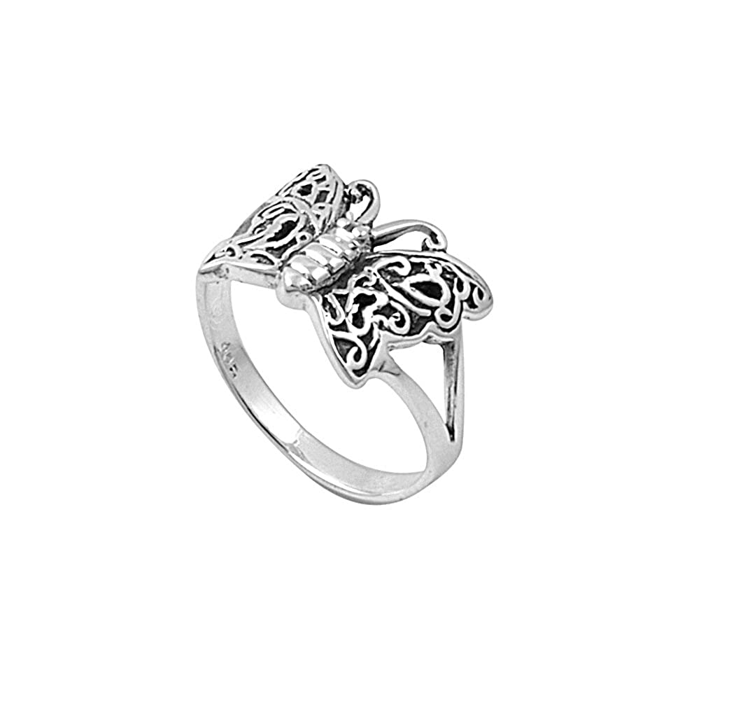 Princess Kylie 925 Sterling Silver Simple Butterfly Style Ring