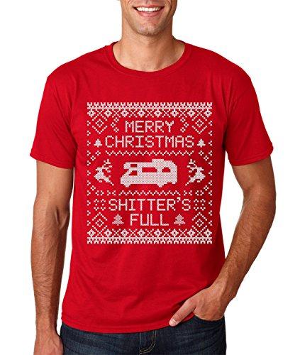 AW Fashions Merry Christmas Shitters Full - Funny Xmas Gift Premium Men's T-Shirt (Large, Red) Christmas Mens Fashion
