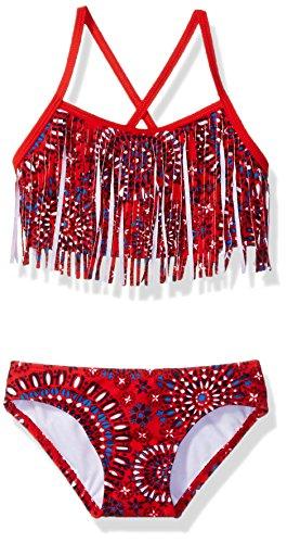 Kanu Surf Big Girls' Kelly Beach Sport Fringe 2-Piece Bikini Swimsuit, Melanie Red, 8