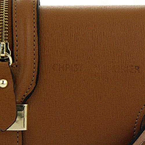 Christian Laurier - Sac à main en cuir modèle Lily camel - Sac à main haut de gamme minaudière fabriqué en Italie