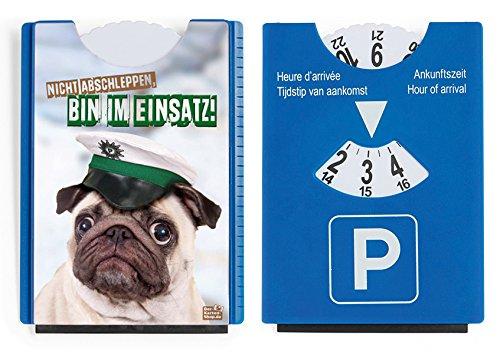 Disque de stationnement, avec grattoir et racloir en caoutchouc, carlin avec message humoristique Der-Karten-Shop.de