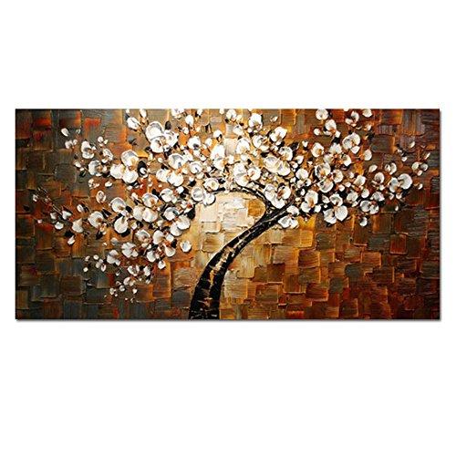 H.COZY Thick Ölgemälde Wohnzimmer Halle Wall Art Paletten-Messer Big Abstrakte Brown-Blumen handgemaltes Ölgemälde auf dem Segeltuchausgangsdekor (ohne Rahmen)