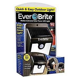 ONTEL Ever Brite Motion Activated Solar Power Outdoor LED Light – No Tools Required, Peel and Stick, Black – As Seen On TV