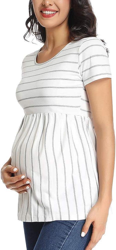Liu /& Qu Womens Maternity Tops Short Sleeve Round Neck Pregnancy Shirts for Women