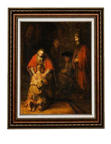 Eliteart-The Return of The Prodigal Son by Rembrandt Oil Painting Reproduction Giclee Wall Art Canvas Prints-Framed Size:21