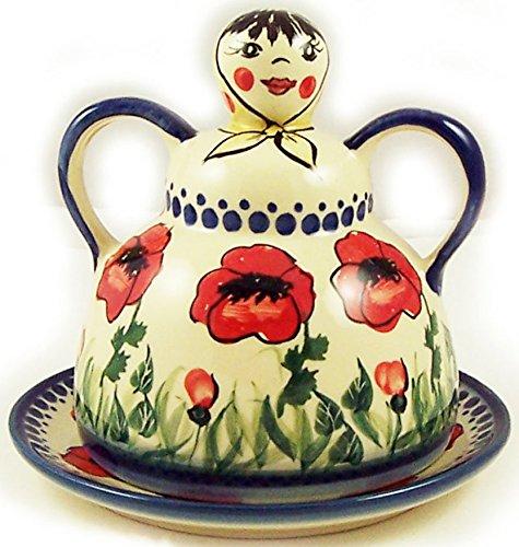 Polish Pottery UNIKAT Cheese Lady Butter Dish Garlic Baker Eva's Collection