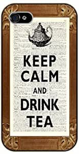 iPhone 5C Keep calm and drink tea - black plastic case / Keep calm, funny, quotes