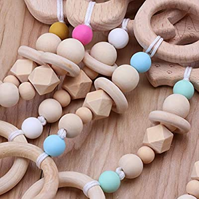 YOUSIKE Wooden Teether Chew Beads Silicone Baby Teething Pacifier Toys - For Molars - Easy To Hold - Anti-eat Hand - Bright Colors - Safe Teether Sensory Toy For 3 To 12 Months Babies, Infant, Toddler : Baby