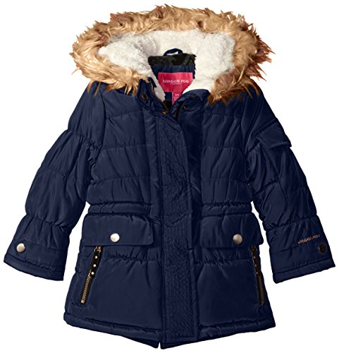 London Fog Big Girls' Heavyweight Expedition Parka with Print Lining, Navy, 10/12
