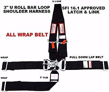 "LOOP RACING HARNESS SFI 16.1 RACING 5 POINT U ROLL BAR  3/"" LATCH /& LINK BLACK"