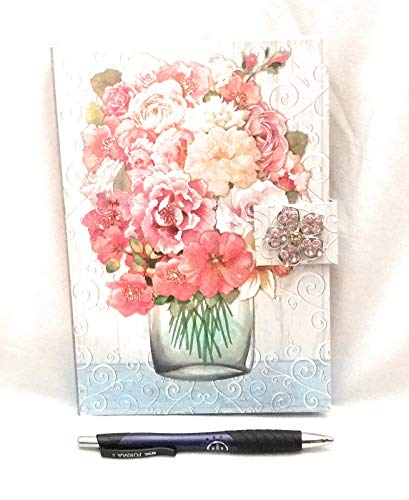 Decorative Writing Journal Multicolor Flower Bouquet in Water Jar Jewel Brooch Clasp and Pen