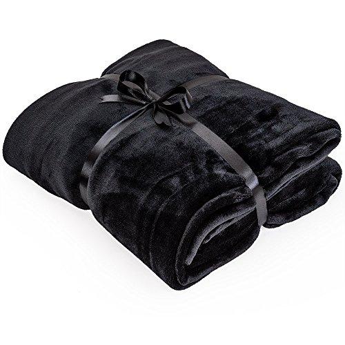 Mikrofaserdecke 220x240cm schwarz Kuscheldecke XXL Tagesdecke Wohndecke Decke