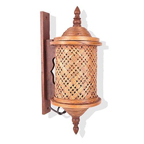 avviou portacandele LED e scendere appliques bambù legno bambù tissés appliques, decorate in toni di verde Corridoio passaggio Wall Lamp
