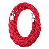 Fityle Barrier Rope Crowd Control Stanchion Queue Twisted Rope with Hardware Barrier Rope (Rope with Silver Hardware) - Red, 3m