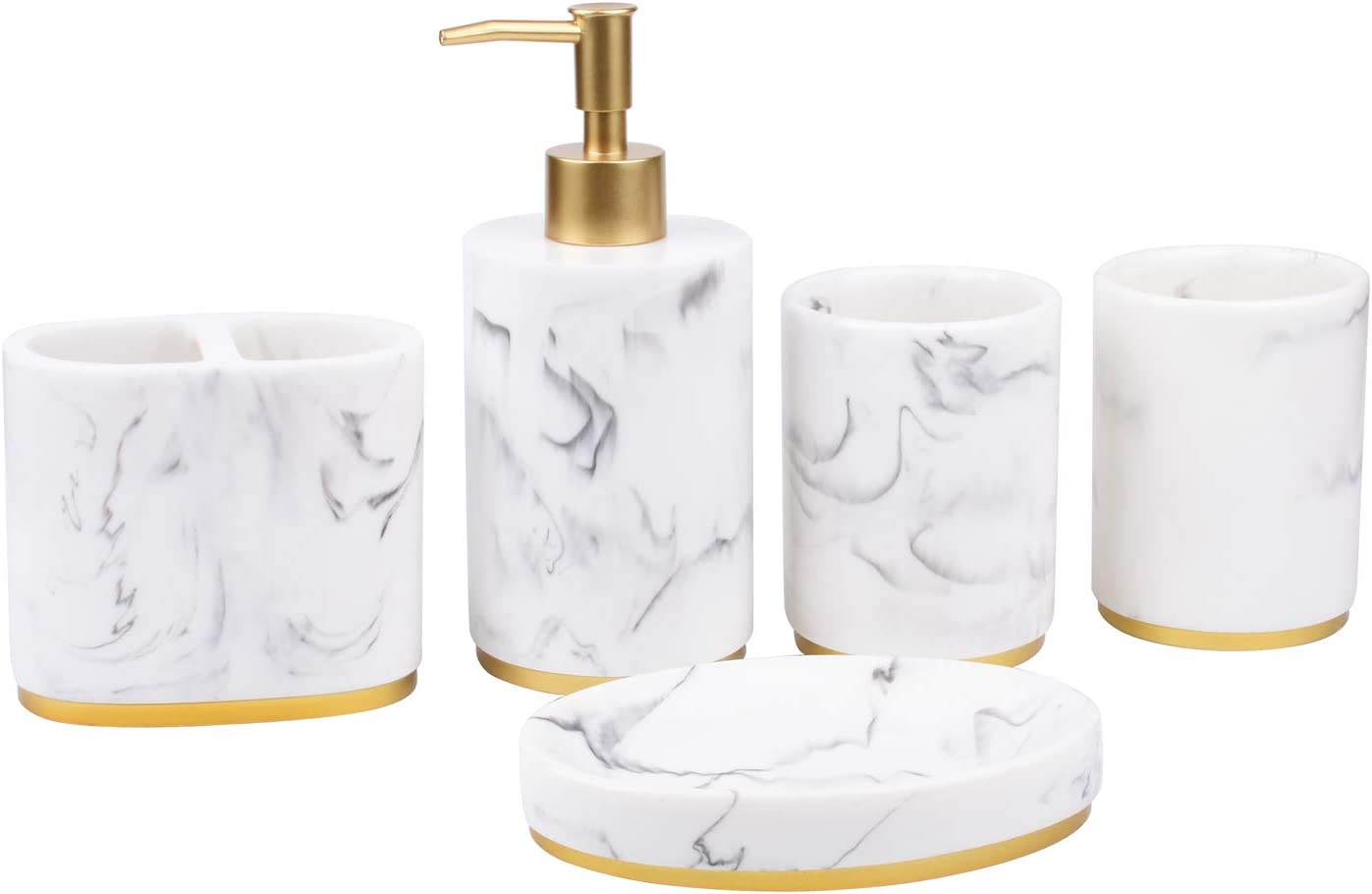 Bathroom Accessories Set 5 Piece,Resin Bathroom Set Accessories with Toothbrush Holder,Soap Dispenser,Soap Dish,Tumbler Cup,Marble Pattern Bathroom Gift Set-White and Gold
