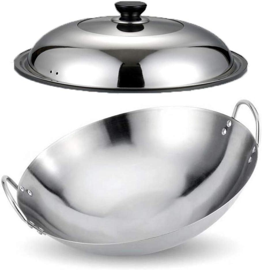 LNDDP Non-Stick Frying Pan, Pan,Non Sticks Binaural Work Thicken Gas Stoves Round Bottom Work Hand Wok,Suitable for Restaurants Banquets