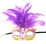 Saigon Purple Feather Venetian Mardi Gras Mask Party New Orleans Prom