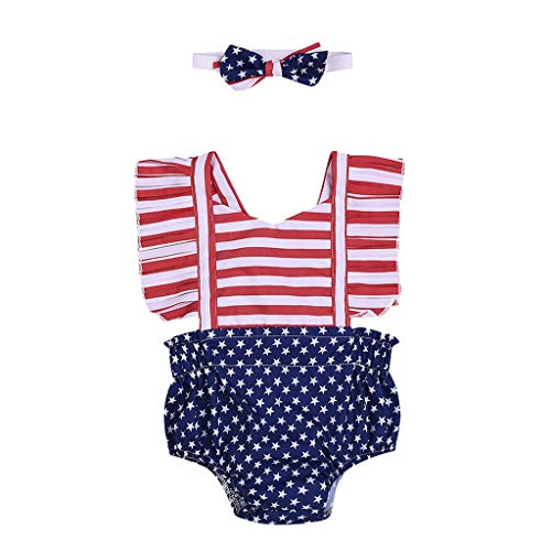 (2PCS Baby Girls Clothes Ruffle Bowknot Romper Jumpsuit Bodysuit+Headband Patriotic Newborn Outfit Set Red)