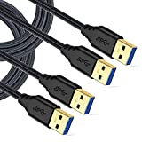 USB 3.0 Cable Male to Male, Besgoods 2-Pack Braided 6ft USB to USB Cable Type A Male Double End USB Cord Compatible Hard Drive Enclosures, DVD Player, Laptop Cooler - Black