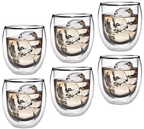 AKTION: 6x 320ml doppelwandiges Thermoglas mit Schwebe-Effekt, Teeglas / Kaffeeglas für Cappuchino, Milchkaffee, Tee, Eistee, Schorle, Desserts oder als Eisbecher geeignet, 36R by Feelino
