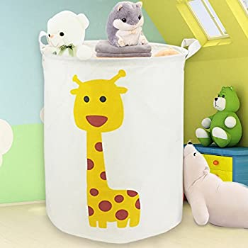 Large Cotton Canvas Toy Storage Bin, Waterproof Fabric Laundry Bag, Hamper,  Collapsible Clothing