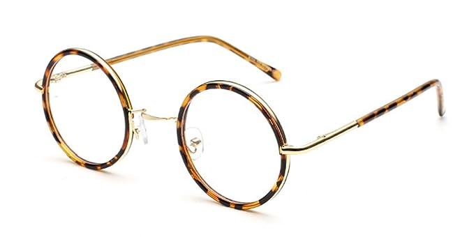 8970ffa009e00b BOZEVON Vintage Lunettes de Vue Rondes Unisex Cadre Frame Lentille Claire  pour Homme et Femme,