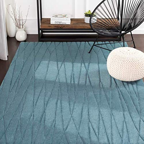 Sweetwater Solid Stripes 5' x 8' Rectangle Solid & Border 100% Wool Charcoal Area Rug