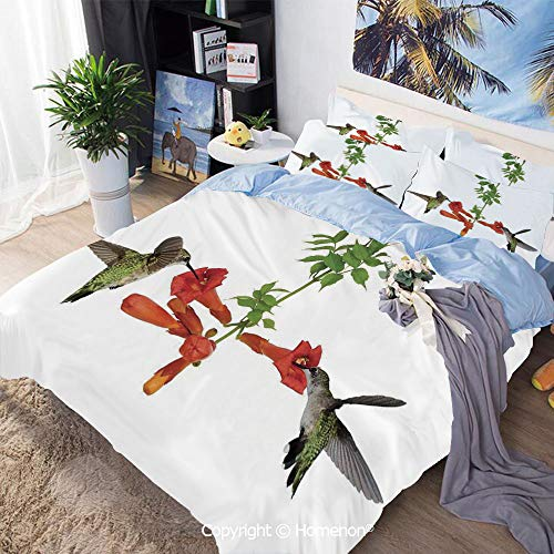 Home Fashion Designs 3-Piece Set,Two Hummingbirds Sip Nectar from a Trumpet Vine Blossoms Summertime,Full Size,for Bedroom Guest Room