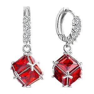 Pugster Hoop Dangle Square Red Swarovski Elements Crystal July Birthstone Leverback Earrings