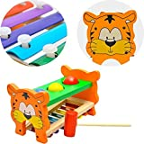 Aijiaye 2 in 1 Multifunctional and Bright Colours Wooden Educational Set Slide out Xylophone and Pounding Toys with Shape Matching Blocks for Kids baby piano toy