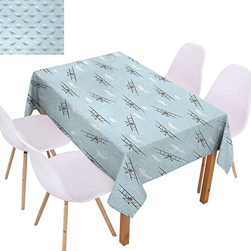 - UHOO2018 Airplane,Picnic Tablecloth,Old Aircraft Biplanes in Blue Sky Speedy Propellers Wings Retro Design,Great for Holiday Dinner, Wedding & More,Pale Blue Black White,55