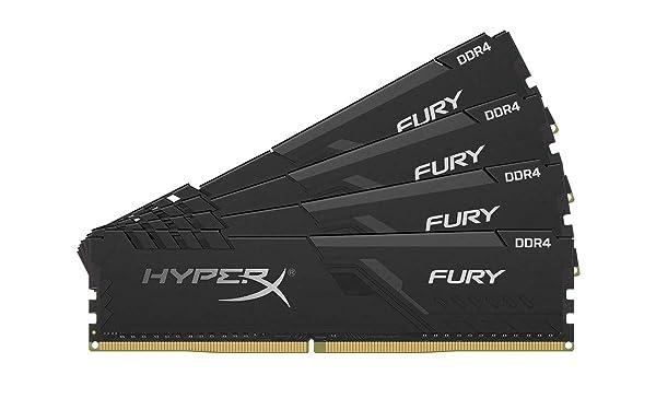 HyperX Fury 64GB 3200MHz DDR4 CL16 DIMM (Kit of 4) Black XMP Desktop Memory HX432C16FB3K4/64 (Tamaño: 64GB kit (4 x 16GB))