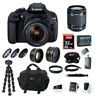 Canon EOS Rebel T5 DSLR Camera Kit with EF-S 18-55mm IS II Lens, Focus Telephoto, Wide Angle Lens and Accessories (16 Items)