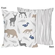 Sweet Jojo Designs Grey White and Blue Woodland Animals Accent Throw Pillow