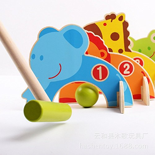 Kidcia 4 Doorways Cartoon Animal Croquet Toy Game Wooden Golf Toys Funny Outdoor Family Educational Games for Kids