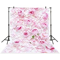 Allenjoy 5x7ft Photography Backdrop Pink rose flower wall wedding love baby shower fresh background props photocall photobooth photo studio