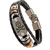 PopJ Handmade Leather Bracelet Triple Band Clasp Bangle 7.8'' (Skull)