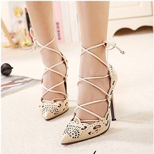 La Hauts Printemps Haut Sexy Été Talons Sandales Shoes Mariée 11cm Femmes Beige Lanières Cheville Minetom Sweet Soirée Talon Fête Mariage 6Rw0tq