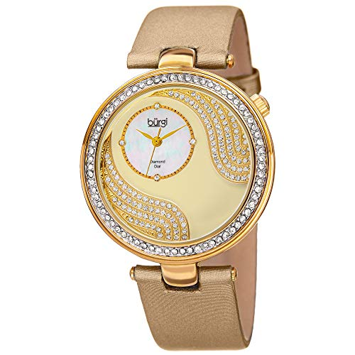 Crystal Design Watch - Burgi Unique Crystal Pave Design Women's Watch - Mother-Of-Pearl and Sparkling Crystal Dial and Case on Genuine Leather Strap - BUR155