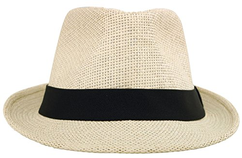 (Simplicity Summer Sun Short Brim Straw Fedora Hat Nature Black Belt)
