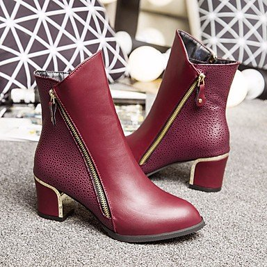 Botas de mujeres PU Confort Casual Primavera Stiletto talón plano rojo y negro Black