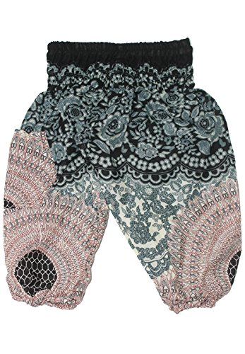 Lofbaz Kids Hippie Harem Aladdin Rose Flower Child Pants Bohemian Baggy White Size 10-11Y (Aladdin Harem Girls)