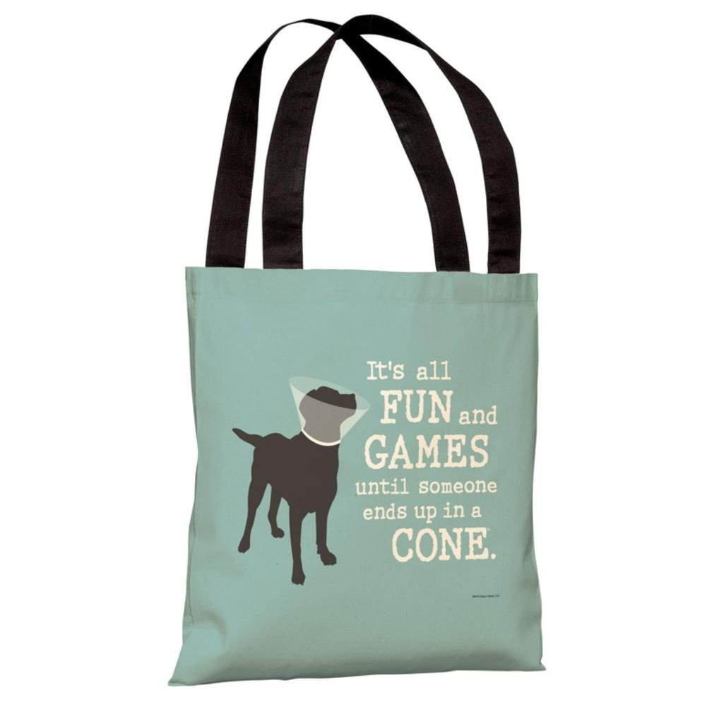 Its All Fun /& Games Polyester Tote Bag by Dog is Good One Bella Casa 70266TT18P 18 in Blue44; Gray
